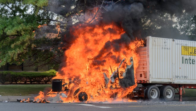 A tractor trailer that caught fire in Teterboro on Aug. 24, 2017.