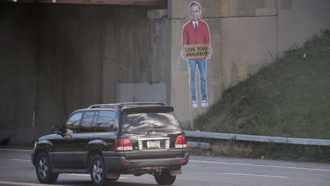 An image of Fred Rogers appeared on Interstate 490 Monday morning.