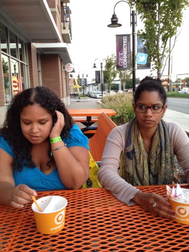 """Just enjoying froyo with my family. Perfectly happy,"" tweeted Dawn Cherie Araujo. Do you or someone you know suffer from what strangers find an inability to smile, otherwise know as ""bitchy resting face""?"