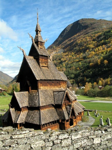 The triple nave Borgund Stave Church, the best                                                          preserved of                                                          Nor