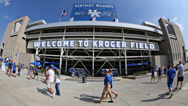 An artist's rendering of one possible look for the welcome sign at UK's football stadium after the name was changed from Commonwealth Stadium to Kroger Field.
