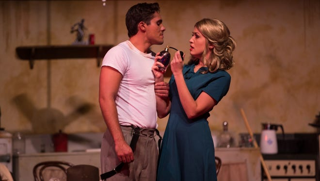 """Ryan Bates stars as Stanley and Elisabeth Melcher plays Blanche in the Moorpark College Theatre Arts production of Tennessee Williams' """"A Streetcar Named Desire."""""""