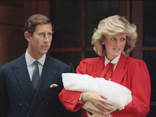 Prince Charles and Princess Diana leave St. Mary's