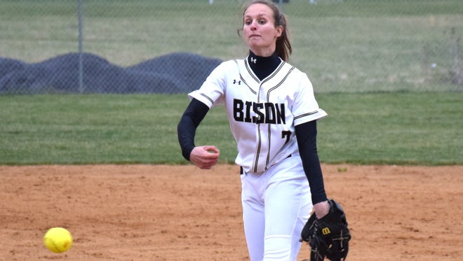 Pitcher Katy Simmons turned in another solid effort for Buffalo Gap in its 10-2 win over Stuarts Draft in the semifinals of the VHSL Conference 36 tournament on Tuesday, May 23, 2017. She allowed five hits, striking out 12 Cougars, and had an RBI double.