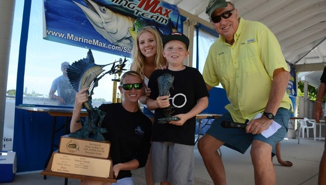 Zane Price, 9, of Jensen Beach, third from left, won Top Angler honors in the 2017 Stuart Sailfish Club Junior Angler Tournament.