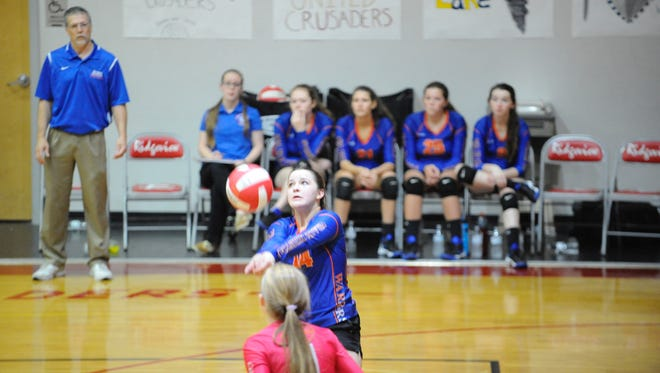 Grace Christian's Merab Yeomans passes the ball during Saturday's VACA state championship game.