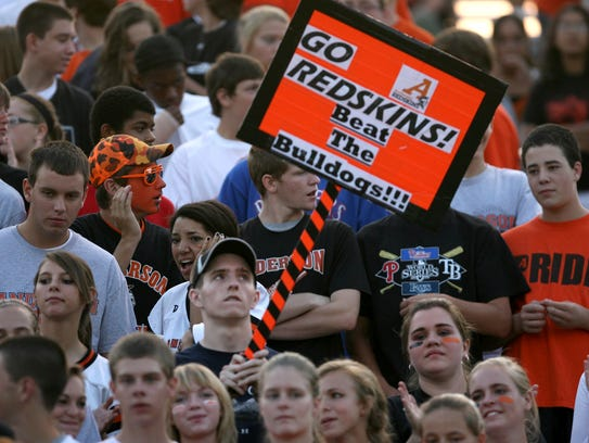 Anderson High School fans cheer for their Redskins