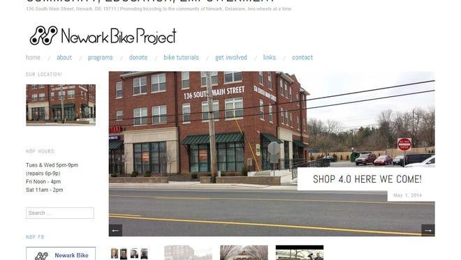 A screenshot of the Newark Bike Project website, newarkbikeproject.org, that was taken Sept. 5, 2014.