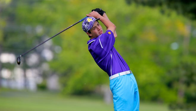 St. Rose's Patrick Gates competes during the NJSIAA South Non-Public golf tournament at Mountain View Golf Club in Ewing, NJ Monday May 16, 2016.