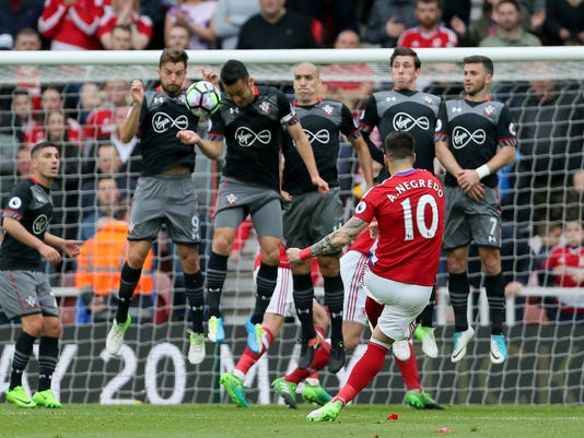 Middlesbrough's Alvaro Negredo takes a free kick during the English Premier League soccer match between Middlesbrough and Southampton,  at the Riverside Stadium, in Middlesbrough, England, Saturday May 13, 2017.  (Richard Sellers/PA via AP)