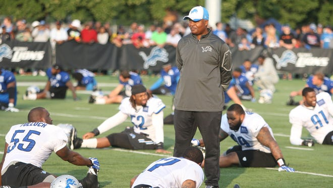 Detroit Lions coach Jim Caldwell looks on during practice July 30, 2014, at Wayne State in Detroit.