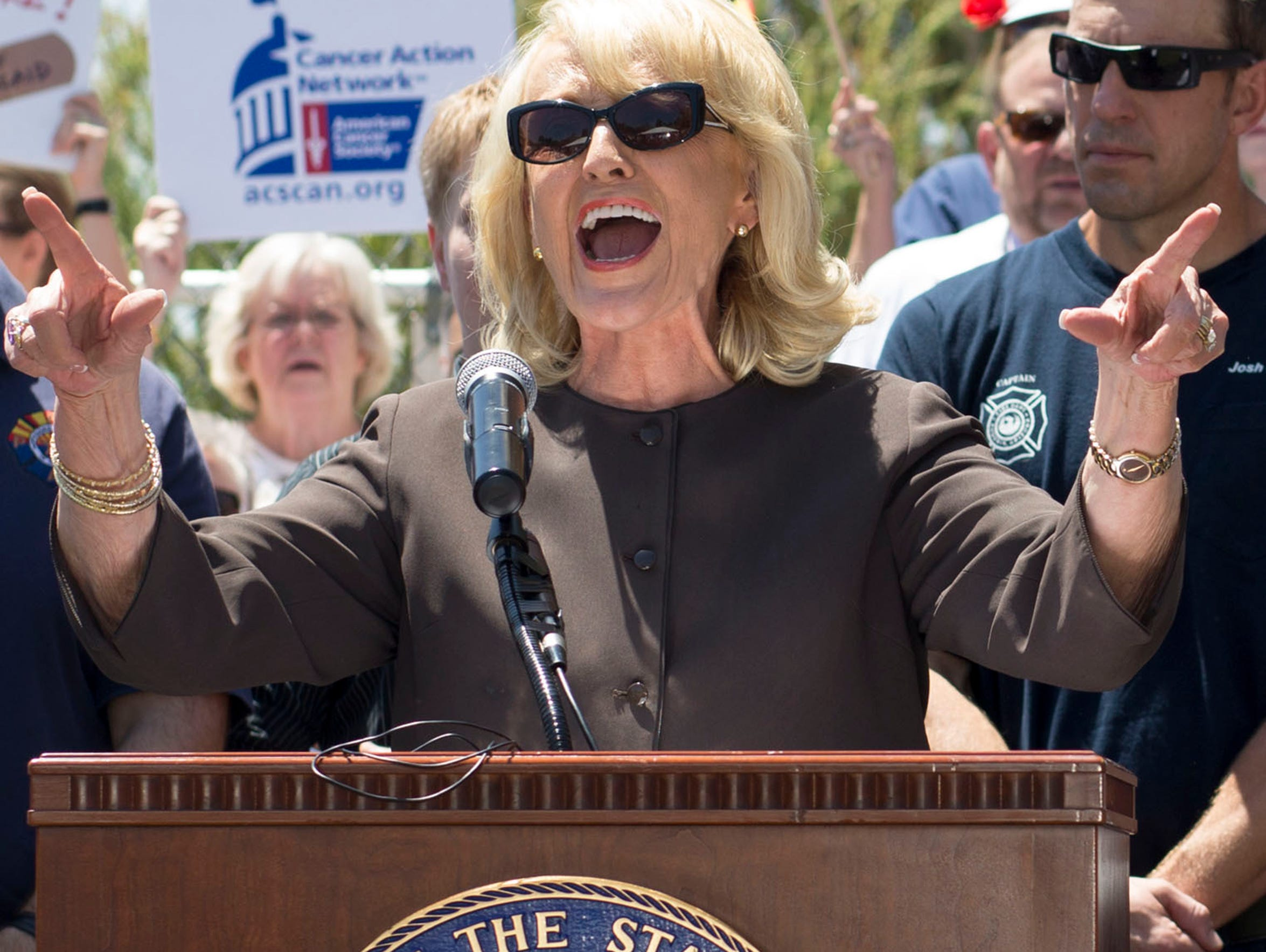Gov. Jan Brewer speaks at a Medicaid expansion rally