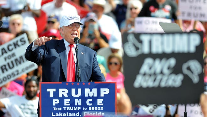 Republican presidential nominee Donald Trump speaks at a rally in Lakeland, Fla., on Oct. 12, 2016.
