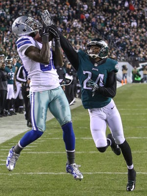 The Eagles will have to face Dallas Cowboys receiver Dez Bryant, shown catching a touchdown pass last season against the Eagles, next Sunday.