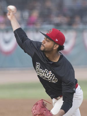 Visalia Rawhide's Joel Payamps pitches against the Modesto Nuts in the third of a three-game series on Wednesday, July 27, 2016.