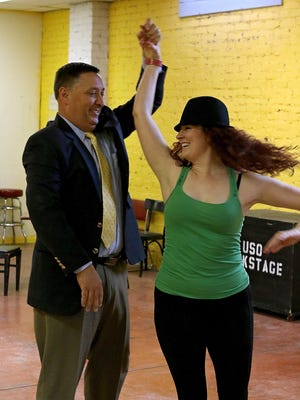 Wichita Falls ISD Superintendent Michael Kuhrt practices with his dance instructor Erin Sherry at the Backdoor Theatre Annex Studio for Dancing for the Stars. The celebrity dance competition and fundraiser is Feb. 10 at the MPEC's Ray Clymer Exhibit Hall.