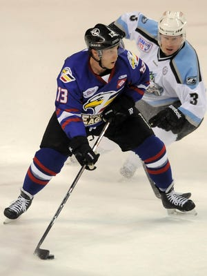Chad Costello (13) was named ECHL MVP with the Colorado Eagles in 2011-12. Costello now plays for the Allen Americans, who Colorado will face in the second round of the playoffs, and has won back-to-back MVP awards.