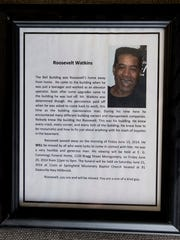 A framed photo and story about Roosevelt Williams,