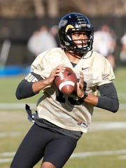 Senior quarterback Aaron Banks during the first day