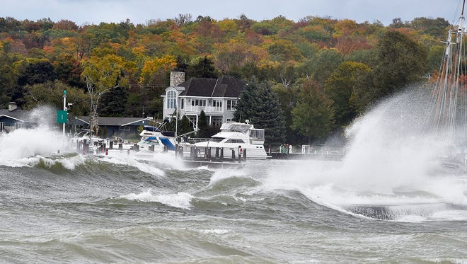 Sustained winds of 30 mph and peaking at 40, pound Sister Bay Marina Sunday, Oct. 15, 2017.