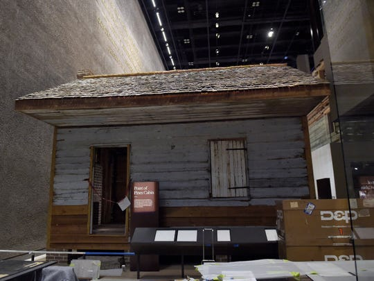 A slave cabin from the Point of Pines Plantation is