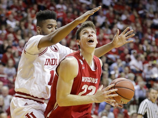 Wisconsin's Ethan Happ led the Badgers with 19 points on Tuesday night.