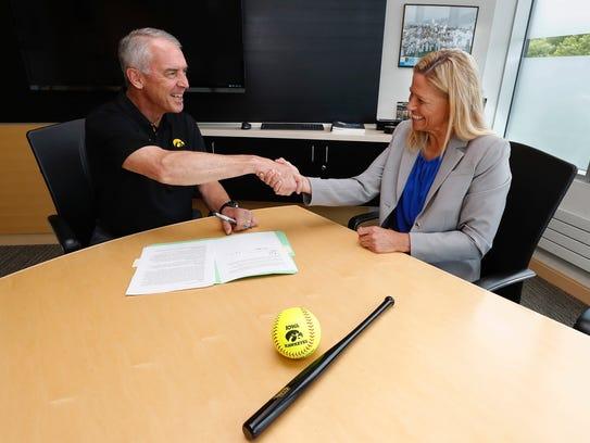 Iowa athletics director Gary Barta and Renee Gillispie
