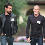 """Jack Dorsey, creator of Twitter and founder and chief executive officer of Square, chats with Aviv """"Vivi"""" Nevo, venture Capitalist with NV Investments, at the Allen & Company Sun Valley Conference on July 9, 2015 in Sun Valley, Idaho."""