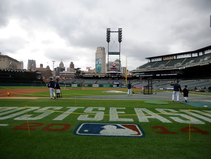 Detroit Tigers prepare to practice on Saturday, Oct. 4, 2014 in Detroit before Sunday's ALDS game against Baltimore Orioles. Tigers are behind in the series 2-0.