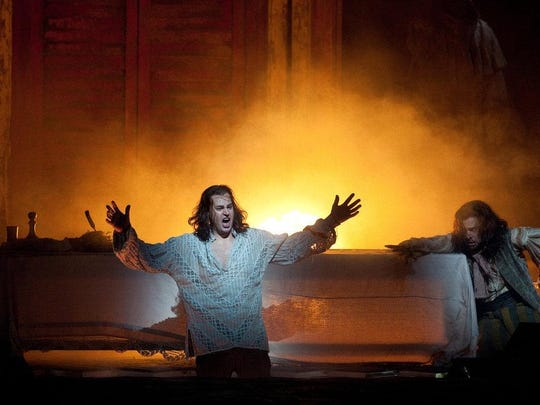 "The Don Juan myth gets a glorious spin from Mozart when The Metropolitan Opera in Manhattan broadcasts its production of ""Don Giovanni"" at 12:55 p.m. Saturday at The Movies at Governor's Square. The title character, left, is shown here being performed by Peter Mattei. It runs 225 minutes and is subtitled. Tickets are $25.80, $23.65 and $19.35. Visit www.fandango.com."