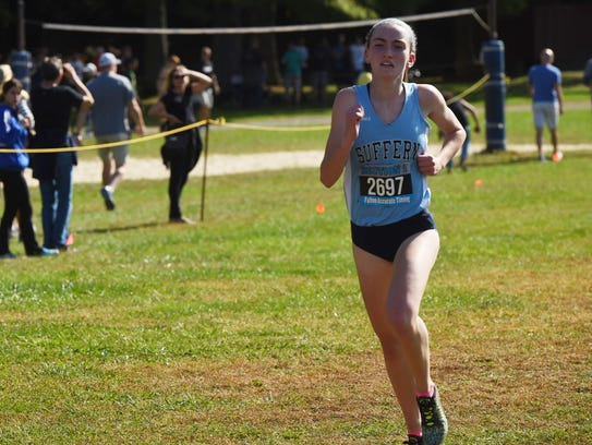 Suffern's Mary Hennelly heads towards the finish line