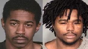 (From left) Adrian Anthony, 22; and Michael Pugh, 23, were sentenced on Tuesday, Sept. 8, 2015, in a Spring Mill Road home invasion in October 2013. Anthony and Pugh were sentenced to 88 years in prison for their convictions on multiple felonies in the case. A third man, Taiwan Lundy, 22; was sentenced to 72 years in the case.