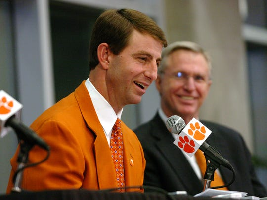 Dabo Swinney is announced as Clemson's head football