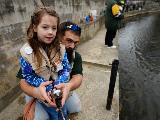 Marlee Mixell, 7, and her dad Matt Mixell, of Newville,