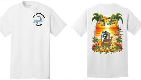 """Beach Accommodations is selling beach themed T-shirts with all profits going to benefit children at Fort Myers Beach Elementary. The shirts feature a dolphin logo on the front and a colorful beach graphic on the back with the saying """"Relax, Unwind, Get in a Flip Flop State of Mind."""""""
