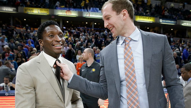 Former Indiana Hoosier teammates Victor Oladipo and Cody Zeller share a laugh following their game at Bankers Life Fieldhouse on Tuesday, April 10, 2018. Both players had the night off. Oladipo now with the Indiana Pacers an Zeller with the Charlotte Hornets. The Charlotte Hornets defeated the Indiana Pacers 119-93.