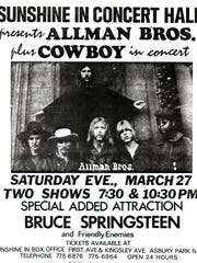 A poster for the Allman Brothers shows at the Sunshine