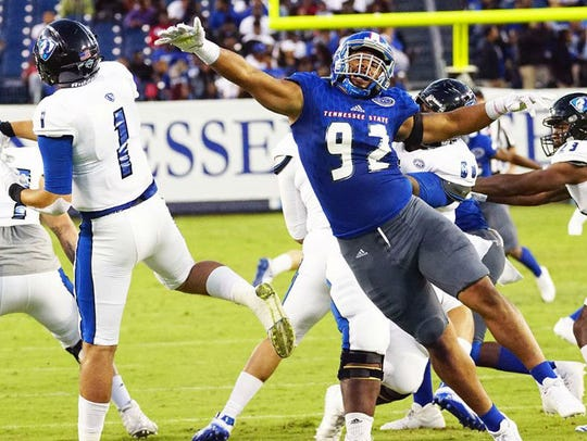 Tennessee State defensive tackle Jason Morrow (92)