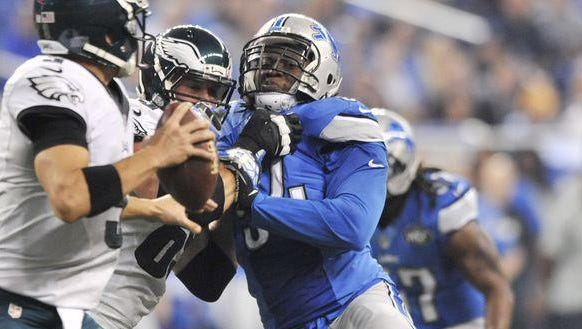 Defensive end Ziggy Ansah hurt his ankle in the Lions' loss to the Titans last weekend.