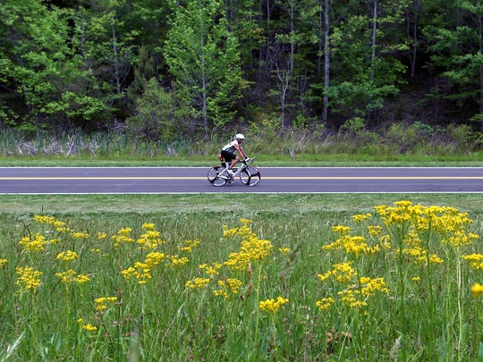 Wildflowers bloom as a cyclist rides on the Natchez Trace Parkway in Franklin, Tenn.