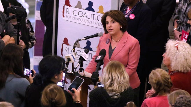 Sen. Gayle Goldin, pictured last year at a rally in the State House, is one of six plaintiffs in the ACLU lawsuit.