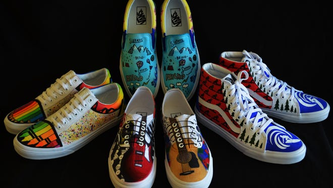 Students from McNary High School entered a contest decorating four pairs of Vans shoes based on various themes and were chosen as semi-finalists in May, 2016.
