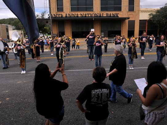 The Santa Anna High School band performs during the