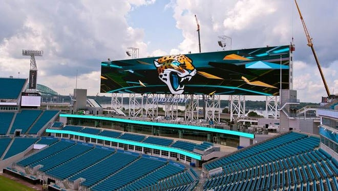 One of the two new video boards added at EverBank Field in Jacksonville.