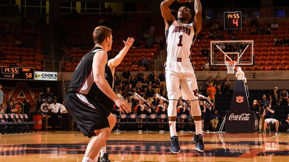 Auburn guard Kareem Canty shooting on Indianapolis vs Auburn basketball on Thursday, Nov. 5, 2015 in Auburn, Ala.