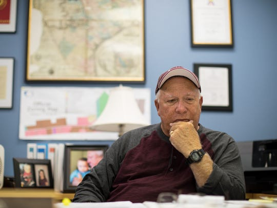 Port Aransas Mayor Charles Bujan sits in his office on Wednesday, Dec. 27, 2017.
