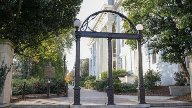 The University of Georgia Arch on North Campus. Gifts and pledges to UGA dropped 22 percent from 2019.