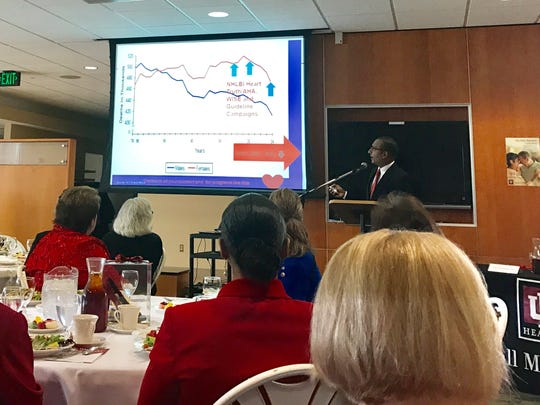 Sai Devarapalli, MD, was the keynote speaker on Friday during IU BMH Foundation's Women with Heart Luncheon.
