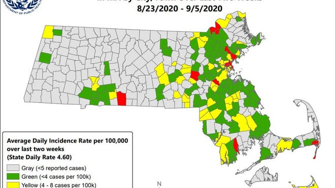A screenshot of the most recent COVID-19 rate map released by the Massachusetts Department of Public Health.