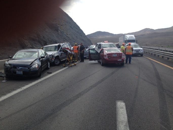 Eight people were injured in a 20-car pileup accident Monday morning, July 7, on Interstate 80 near Derby Dam.